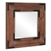 Designer Natural Wood Finish Mirror with Black Iron Accents. - MHE2814
