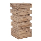 Designer Stepped Natural Wood Pedestal - Medium - MHE4578