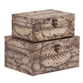 Designer Leaf Textured Wood Box Set - MHE5010
