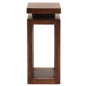 Designer Rustic Wood Pedestal With Iron Accents - MHE4568