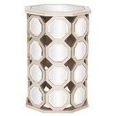 Designer Mirrored Hexagon Wood Table - Tall - MHE4641