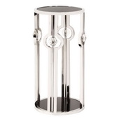 Designer Stainless Steel Pedestal With Black Tempered Glass And Acrylic Ball Details, Small - MHE436