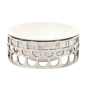 Designer Ceramic White Bowl Set In Silver Lattice Base - MHE4668