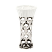 Designer Silver Vase With Hexagon Cut Outs And White Ceramic Top, Small - MHE4876