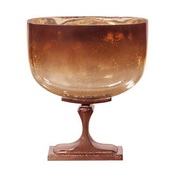 Designer Bronze Glass With Bronze Aluminum Vase - Wide - MHE5060