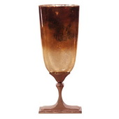 Designer Bronze Glass With Bronze Aluminum Vase - Tall - MHE5062
