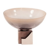 Designer Ombre Glass Bowl On Square Aluminum Base - MHE4908