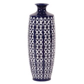 Designer Navy Blue And White Textured Ceramic Vase - Large - MHE5074