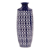 Designer Navy Blue And White Textured Ceramic Vase - Small - MHE5075