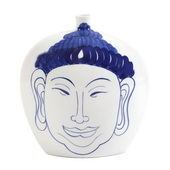 Designer Blue And White Ceramic Buddha Vase, Large - MHE4823