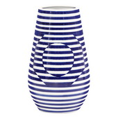 Designer Optical Illusion Blue And White Striped Ceramic Vase, Large - MHE4913