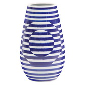 Designer Optical Illusion Blue And White Striped Ceramic Vase, Small - MHE4914