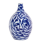 Designer Blue And White Abstract Rose Ceramic Vase - MHE4804