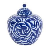 Howard Elliott Blue and White Abstract Rose Ceramic Jar with Lid - MHE4805
