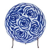Designer Blue And White Abstract Rose Ceramic Charger With Stand - MHE4705