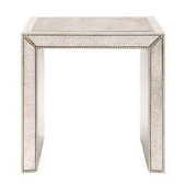 Designer Antiqued Mirrored Side Table - MHE4356