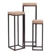 Howard Elliott Wood & Metal Pedestals - Set of 3 - MHE4649