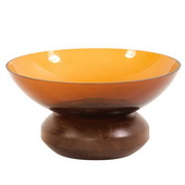 Designer Amber Glass Bowl On Wood Base - MHE4669
