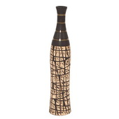 Designer Natural Bottle Vase With Black Accents, Small - MHE4904
