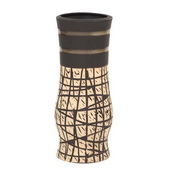Designer Natural Vase With Black Accents, Small - MHE4906