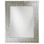 Designer Square Mirror With Checkerboard Mosaic Frame - MHE3396