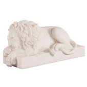 Designer Left Facing White Faux Marble Lion - MHE4733