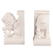 Designer White Faux Marble Lion Book Ends - MHE4666