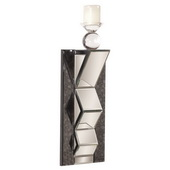 Designer Stepped Mirror W/ Cut Glass Wall Sconce - MHE5077