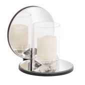 Designer Single Clear Round Mirrored Hurricane Candleholder - MHE5021