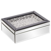 Designer Mirrored Jewelry Box W/ Jeweled Lid - MHE5012