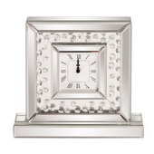 Designer Glass Crystal Accented Mirrored Clock - MHE4724
