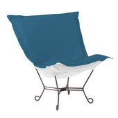 Howard Elliott Patio Seascape Turquoise Scroll Puff Chair - Titanium Frame - MHE5867