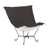 Howard Elliott Patio Seascape Charcoal Scroll Puff Chair - Titanium Frame - MHE5868