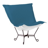 Designer Patio Seascape Turquoise Scroll Puff Chair - Mahogany Frame - MHE5870