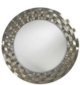Designer Mirror Bright Silver Leaf Brass Accents - MHE2604