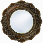Designer Mirror Antique Copper White Wash Accents - MHE2770