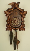 Authentic German Schonach 13in 1 Day Leaves & Bird Black Forest Cuckoo Clock - NSC3721
