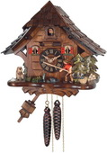 1-Day German Black Forest Cuckoo Clock Cottage - Fisherman Raises Fishing Pole - NVC6557