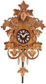 10.5in Quartz Clock with Hand-carved Vines & Leaves - German Black Forest Cuckoo Chime - NVC6563