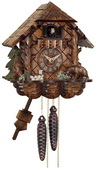 1-Day Cuckoo Clock Cottage with Hand-carved Bears - NVC6569