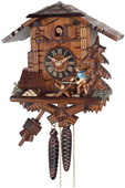 1-Day German Black Forest Cuckoo Clock Cottage - Man Sawing Wood - NVC6578