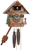 1-Day German Black Forest Cuckoo Clock Cottage with Tree, Mushroom, and Water Pump - NVC6584