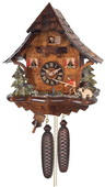 8-Day German Black Forest Cuckoo Clock Cottage - Fisherman Raises Fishing Pole - NVC6596