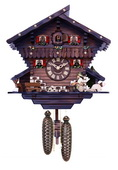 8-Day Chalet Cuckoo Clock with Carved Deer, Dog, and Beer Drinker Drinking Beer - 12 Inches Tall - N