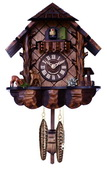Musical Cuckoo Clock with Hand-carved Case and Feeding Deer - NVC6614