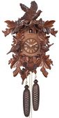 8-Day Cuckoo Clock with Hand-carved Leaves, Birds, and Bird Nest with Chicks - NVC6617