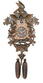 8- Day Hand-carved Cuckoo Clock with Aesop's Fable Themed Carvings - Fox, Bird and Grapevines - NVC6