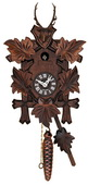 Hand-carved Hunter's Quarter Call Cuckoo Clock with Five Leaves and Buck - NVC6653