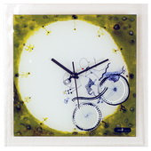 Glass Wall Clock with Boy & Girl on Bicycle - NVC6668