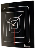 Black Glass Art Clock with White Squares - NVC6674